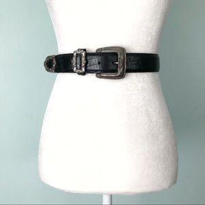 Vintage 90s Brighton Black Leather Belt  Medium